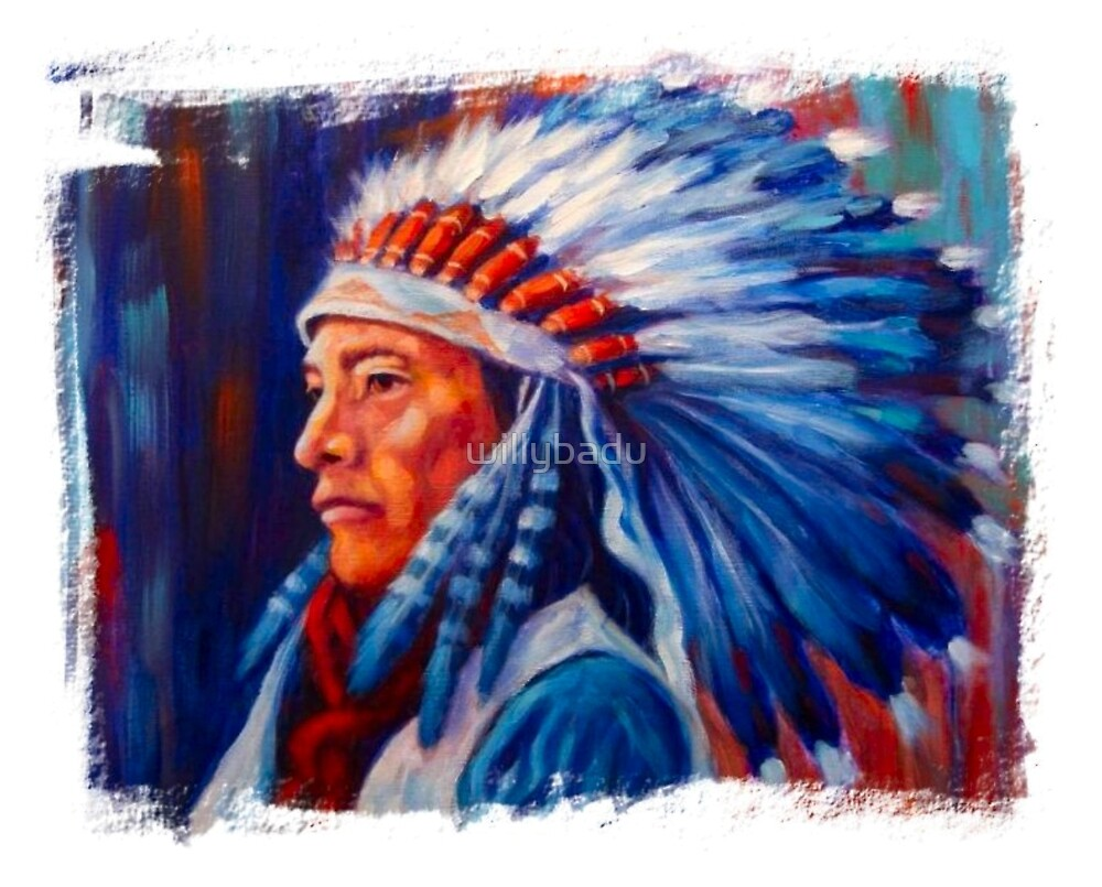 Native American Chief Oil Splash by willybadu