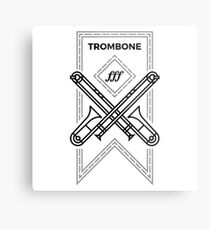 Trombone - Black & Gray Metal Print