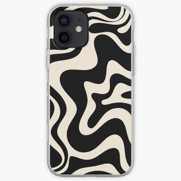 Retro Liquid Swirl Abstract Pattern in Black and Almond Cream iPhone Soft Case