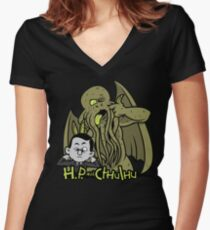H.P. and Cthulhu Women's Fitted V-Neck T-Shirt