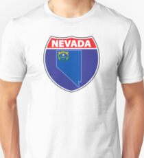 Nevada flag USA hghway seal sign Unisex T-Shirt
