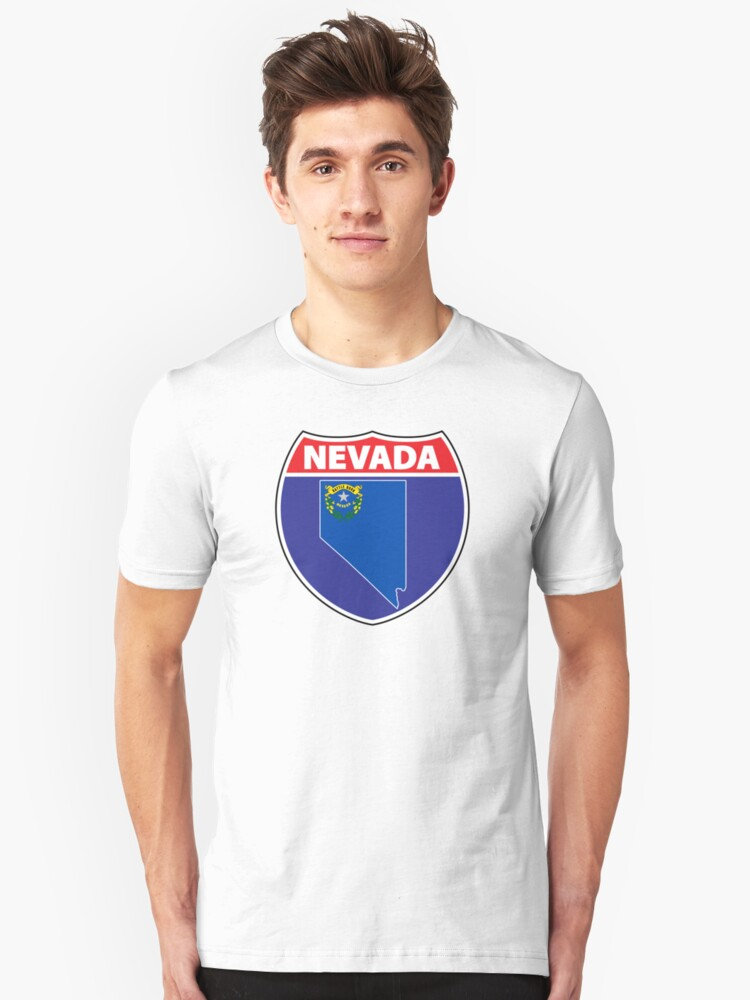 Nevada flag USA hghway seal sign Unisex T-Shirt Front