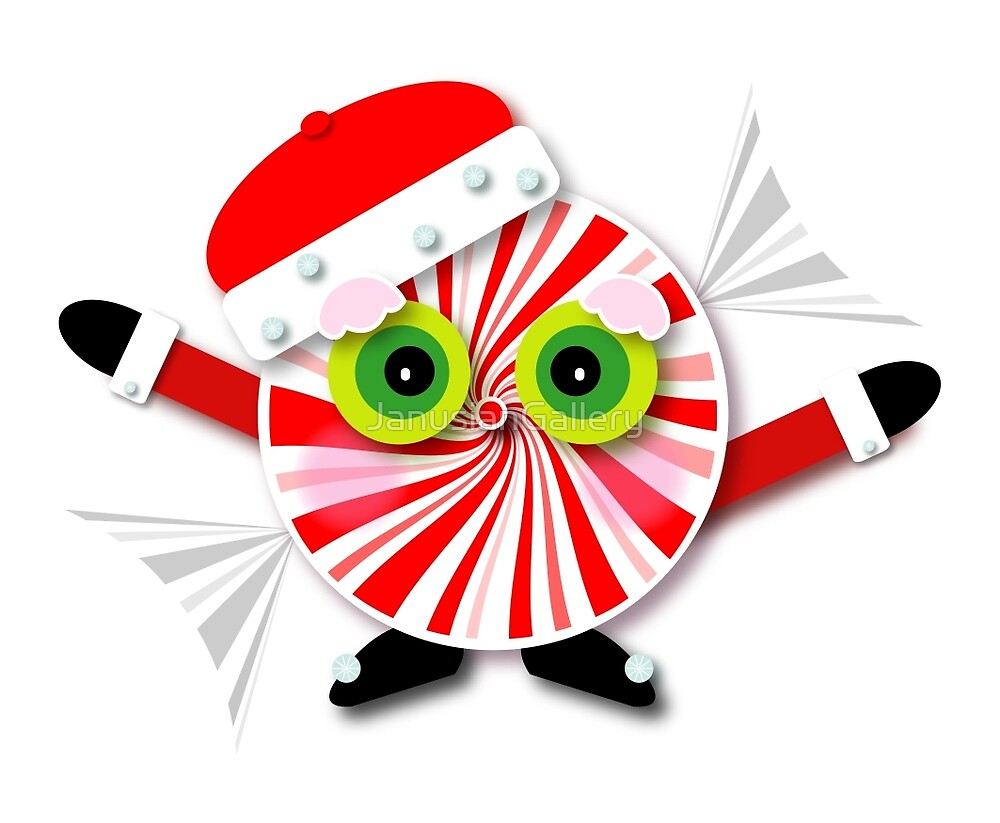 Christmas Peppermint Candy Cartoon by JanusianGallery