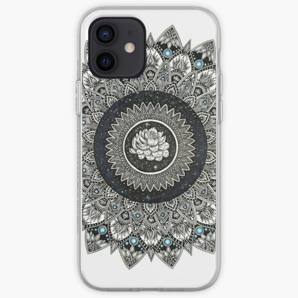 Black and White Flower Mandala with Blue Jewels iPhone Soft Case