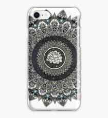 Black and White Flower Mandala with Blue Jewels iPhone Case/Skin