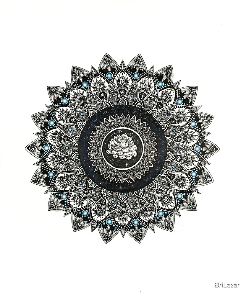 Black and White Flower Mandala with Blue Jewels by BriLazar