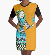 Queen Running with Magic Flower Graphic T-Shirt Dress