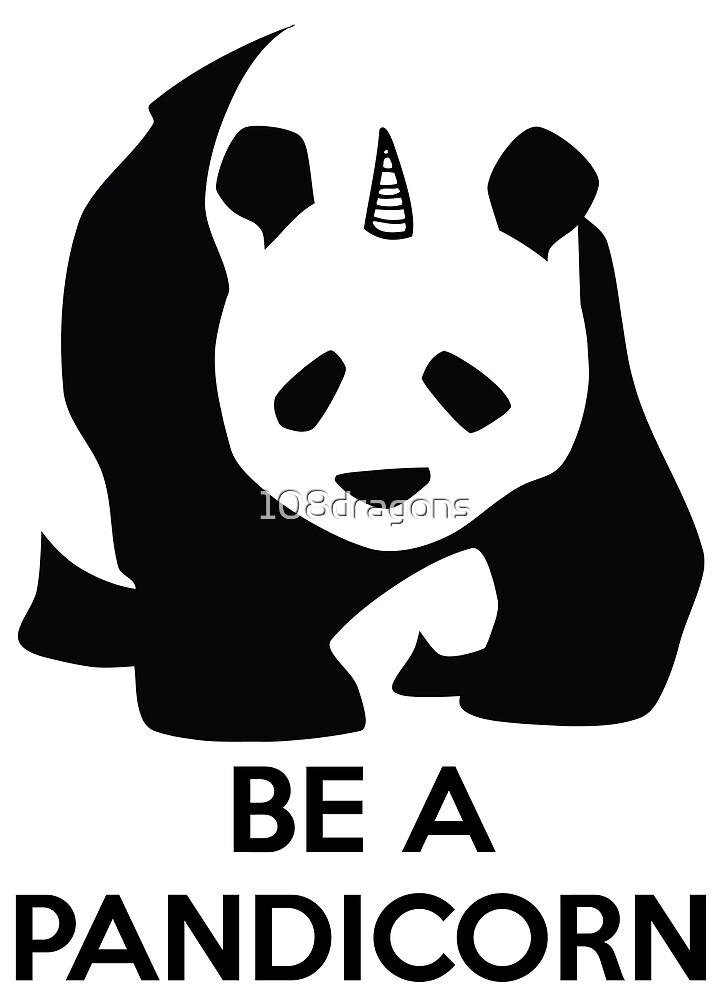 Be A Pandicorn - Black Logo Design by 108dragons