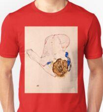 Egon Schiele - Nude with Blue Stockings, Bending Forward (1912)  Unisex T-Shirt
