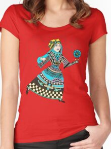 Queen Running with Magic Flower Women's Fitted Scoop T-Shirt