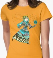 Queen Running with Magic Flower Womens Fitted T-Shirt