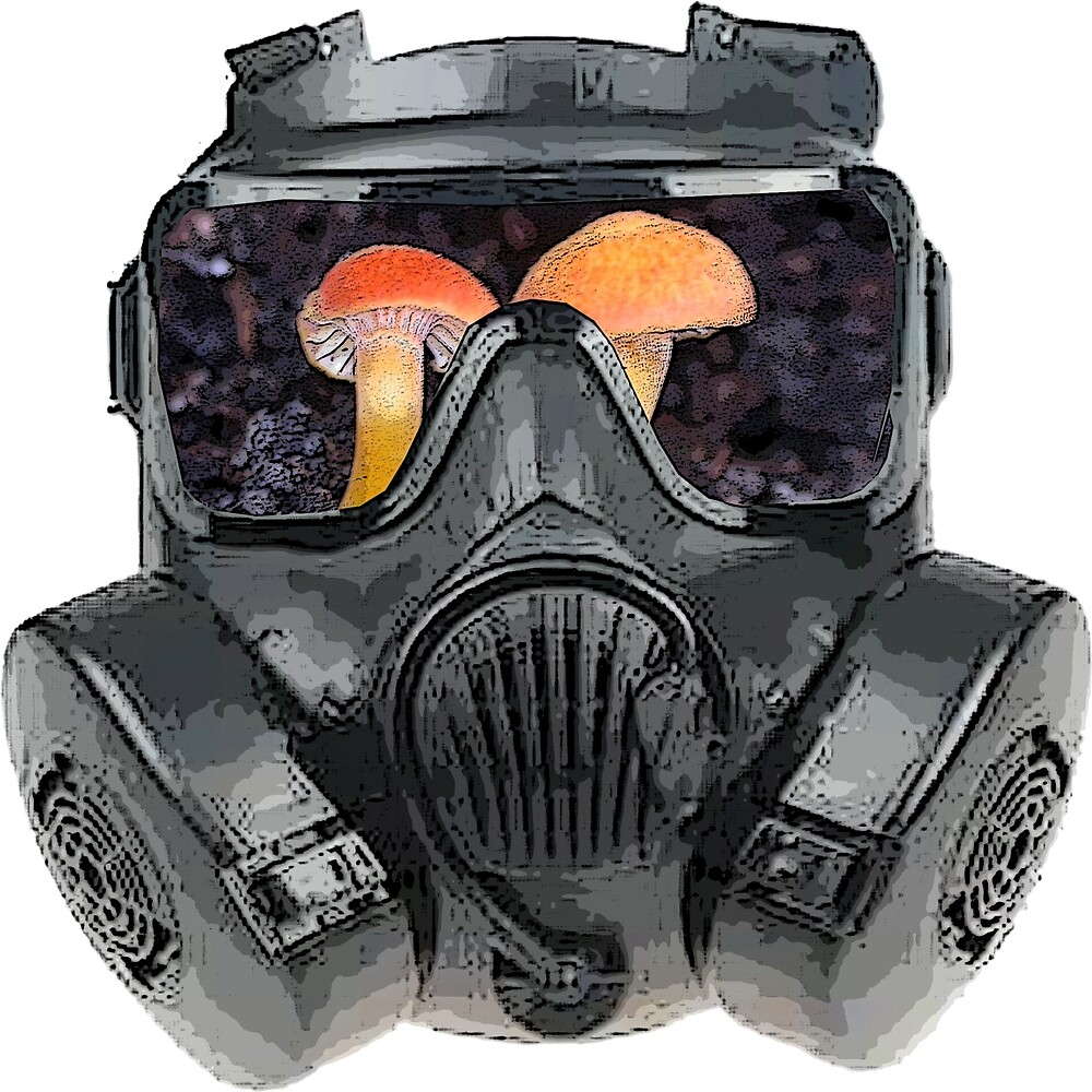 gas mask fungi shroom view by earlstevens