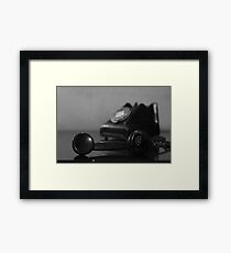 Vintage Telephone black-and-white Framed Print