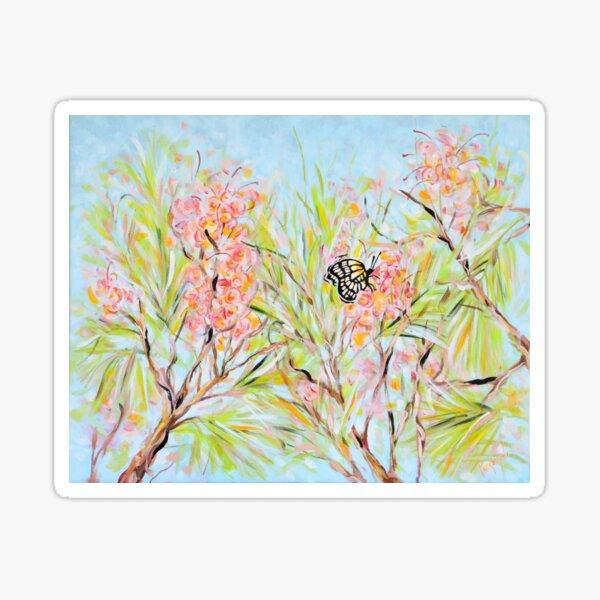 Butterfly Resting on a Grevillea Flower Sticker