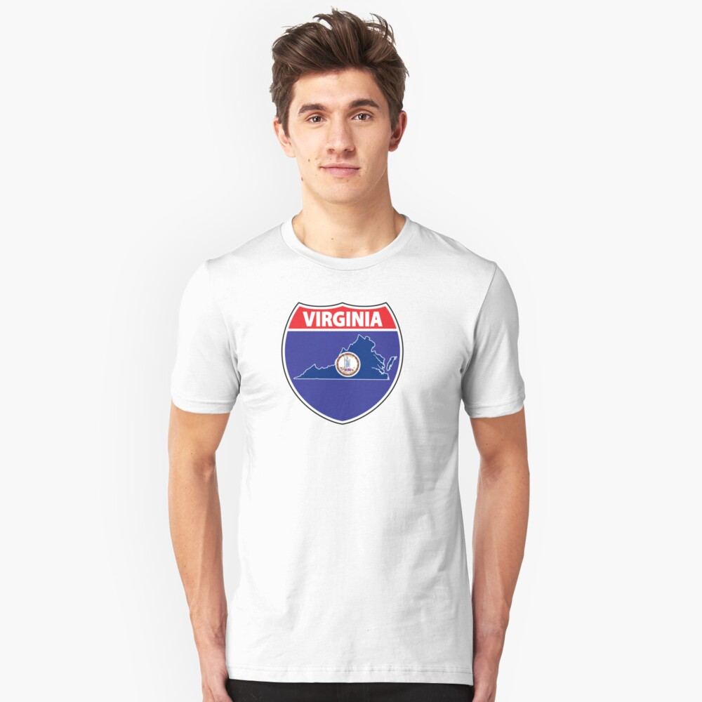 Virginia flag USA highway seal sign Unisex T-Shirt Front