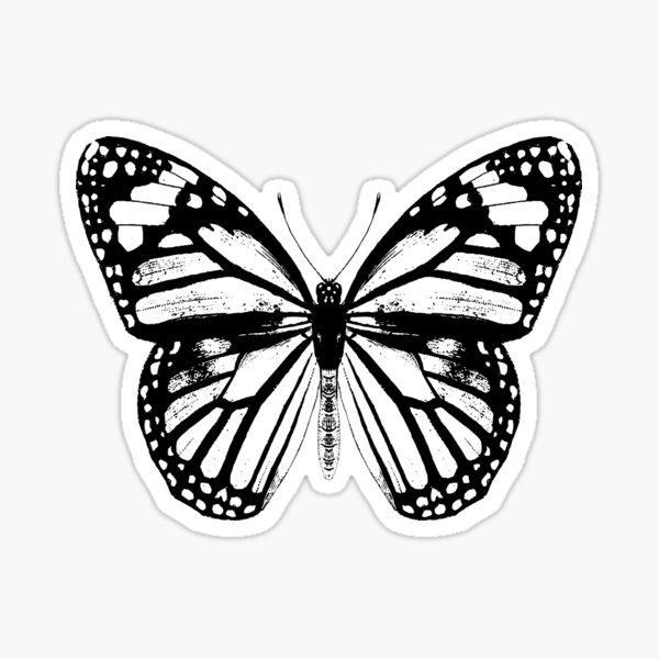 Monarch Butterfly Pattern | Monarch Butterfly | Vintage Butterflies | Butterfly Patterns | Black and White |  Sticker