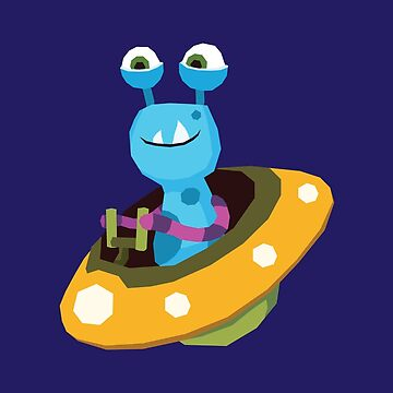 Blue Cartoon Alien in Spaceship by manabunny