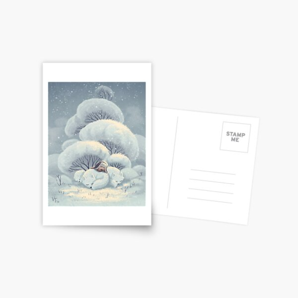 Arctic Fox Huddle Postcard