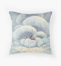 Arctic Fox Huddle Throw Pillow