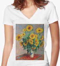 Claude Monet - Sunflowers  Women's Fitted V-Neck T-Shirt