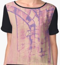 Colorful watercolor painting with classical building detail Women's Chiffon Top