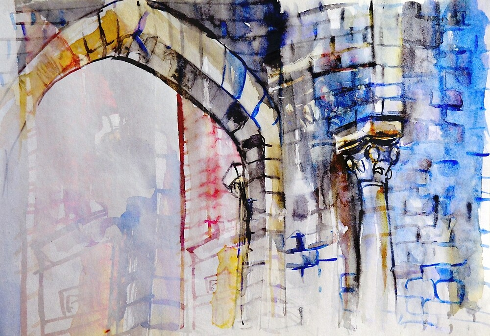 Colorful watercolor painting with classical building detail by oanaunciuleanu