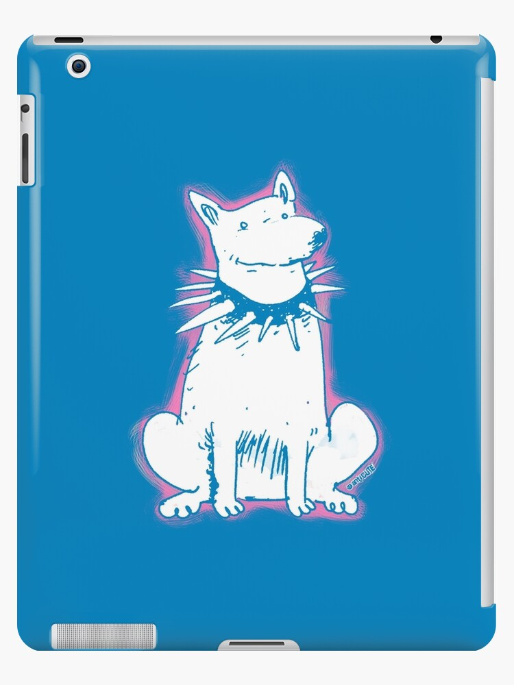 white dog blue contour cartoon style illustration by anticute