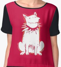 white dog red contour cartoon style illustration Chiffon Top