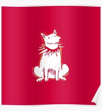 white dog red contour cartoon style illustration Poster