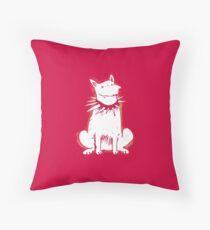 white dog red contour cartoon style illustration Throw Pillow