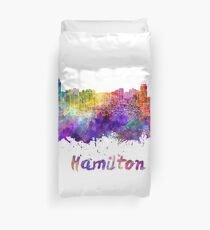 Hamilton skyline in watercolor Duvet Cover