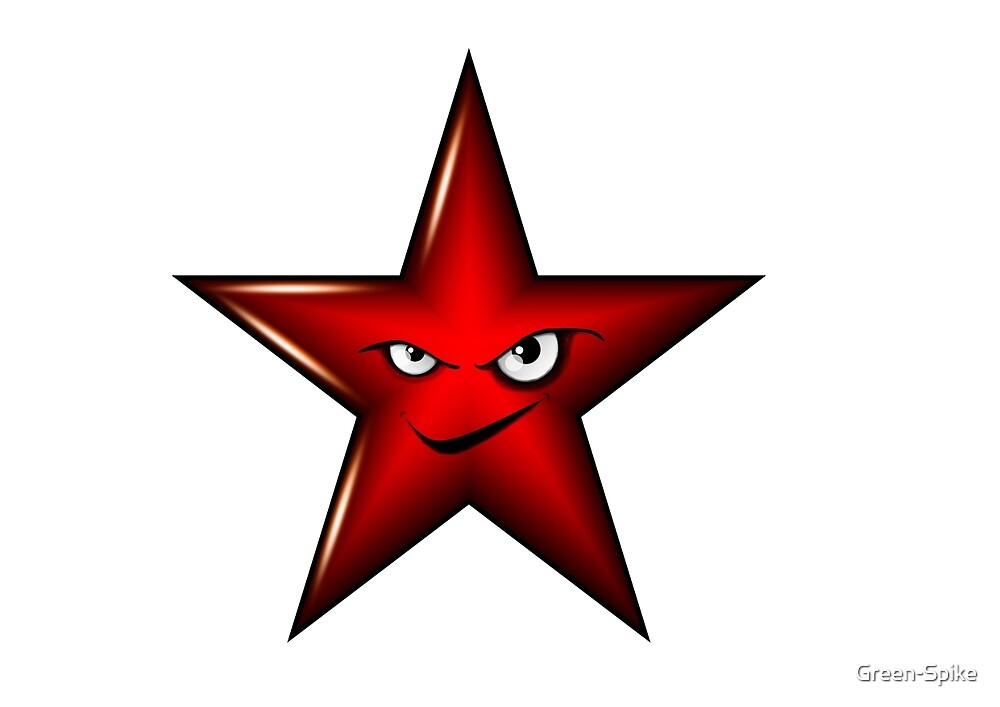 Red Star Smiley by Green-Spike