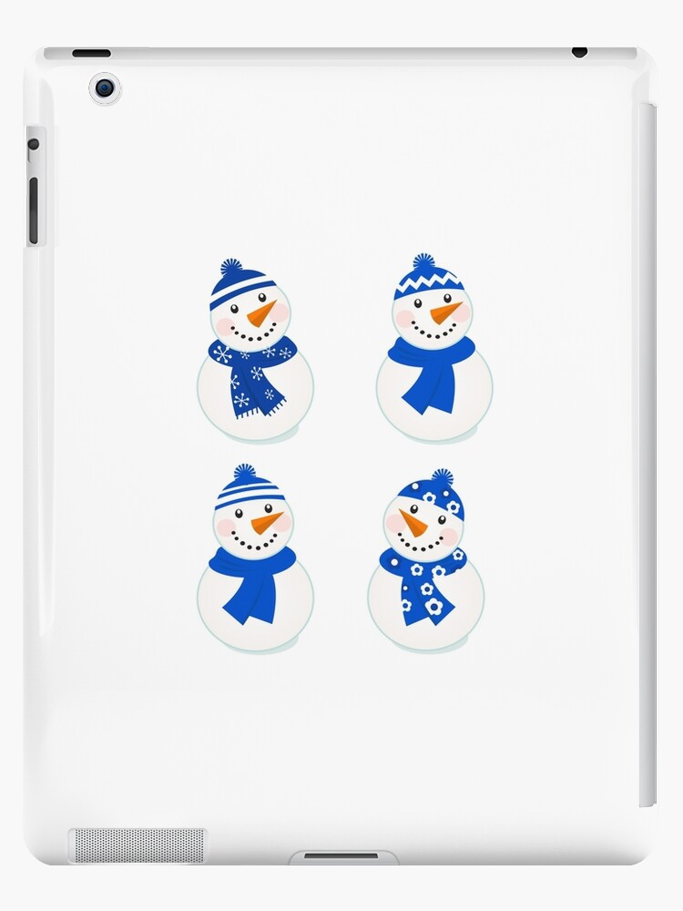Vector cute christmas snowman - blue collection by Bee and Glow Illustrations Shop