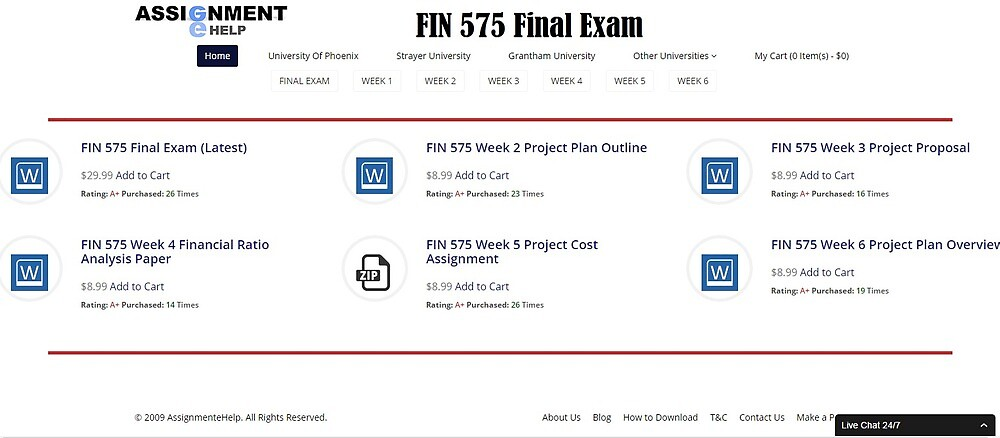 FIN 575 Final Exam Question and Answer by assignmentehelp