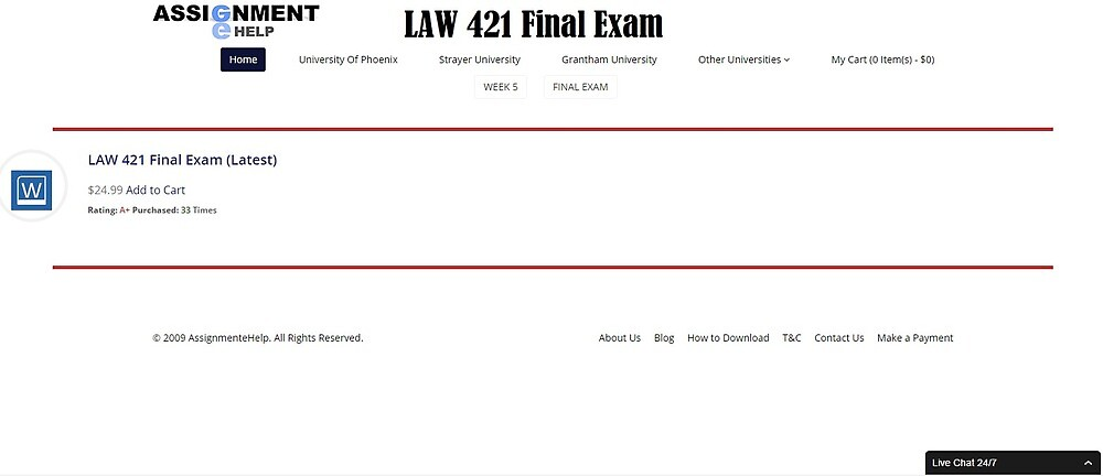 LAW 421 Final Exam Question and Answer by assignmentehelp