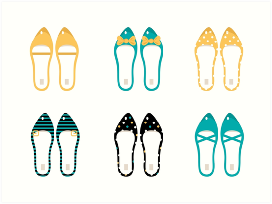 Cute Shoes collection. Vector Illustration by Bee and Glow Illustrations Shop