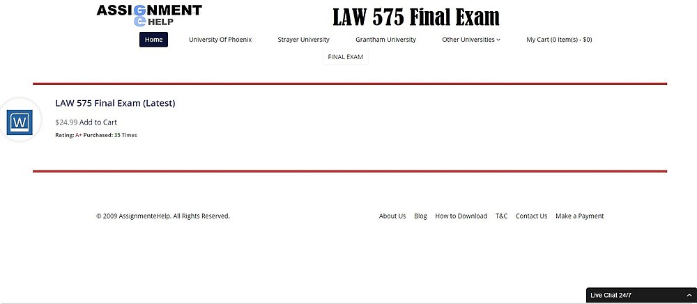 LAW 575 Final Exam Question and Answer by assignmentehelp