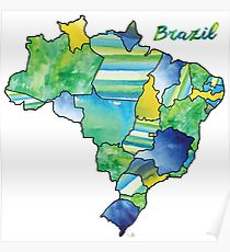 Watercolor Countries - Brazil Poster