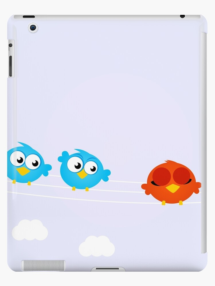 Diversity - red bird standing away blue birds by Bee and Glow Illustrations Shop