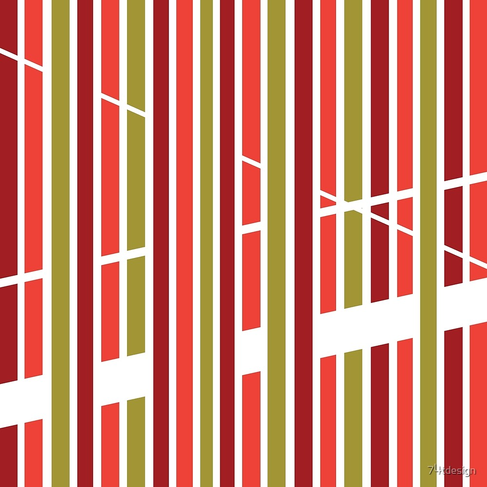 Colorful Stripes Pattern - Red and Green by 74tdesign
