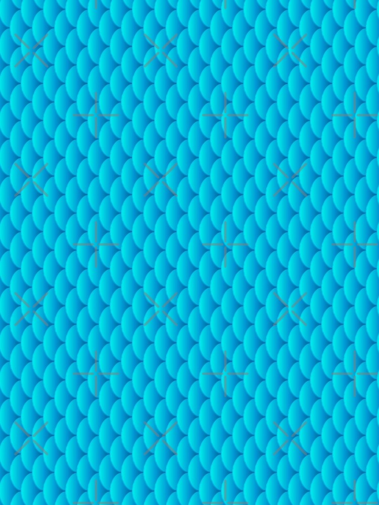 Mermaid scales, 3d effect fun bold animal print design in turquoise and blue, classic statement fashion clothing, soft furnishings and home decor  by Mindreader