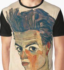Egon Schiele - Self Portrait with Striped Shirt (1910)  Graphic T-Shirt