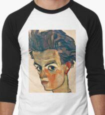 Egon Schiele - Self Portrait with Striped Shirt (1910)  Men's Baseball ¾ T-Shirt