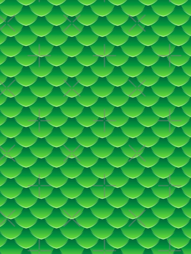 Green dragon scales 3d effect fun bold animal print design in green and emerald, classic statement fashion clothing, soft furnishings and home decor  by Mindreader