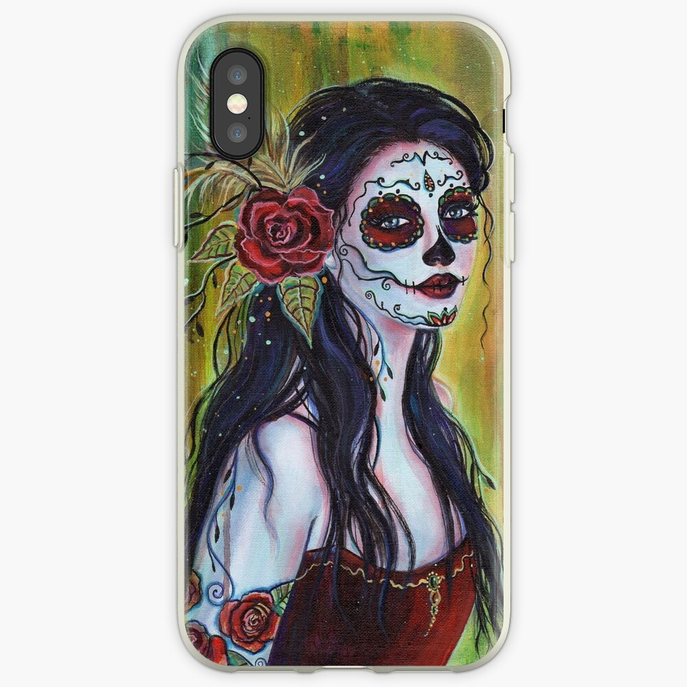 Lila day of the dead art by Renee L Lavoie iPhone Case & Cover