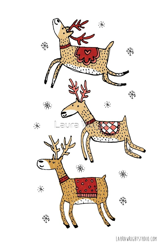 Christmas, reindeer by Laura Wright