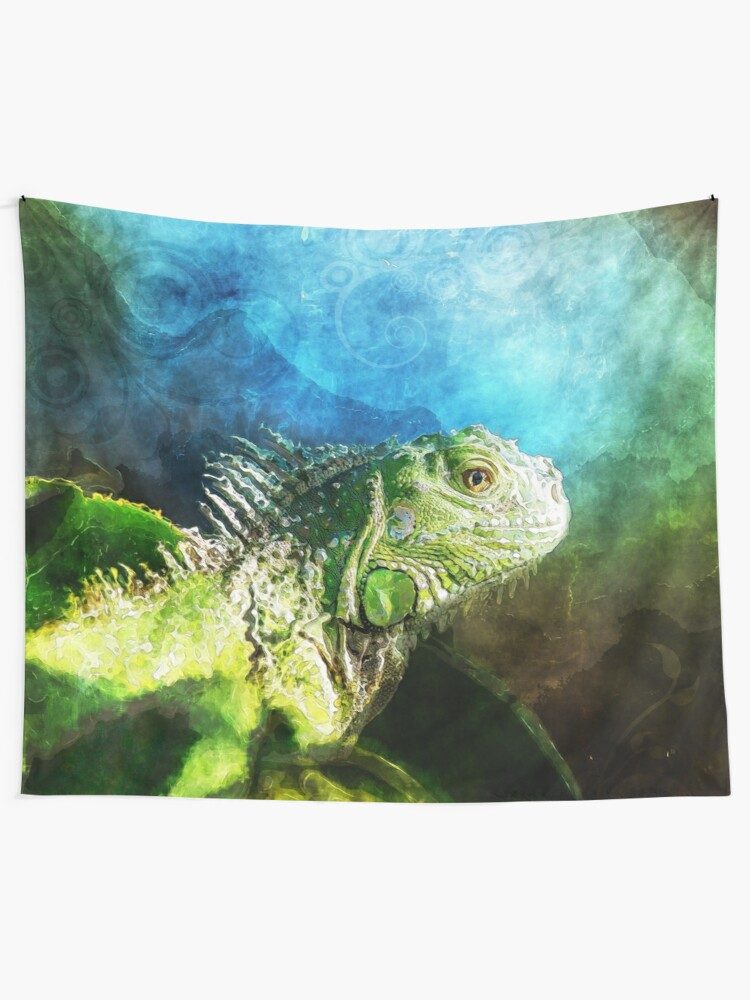 Alternate view of Blue And Green Iguana Profile Tapestry