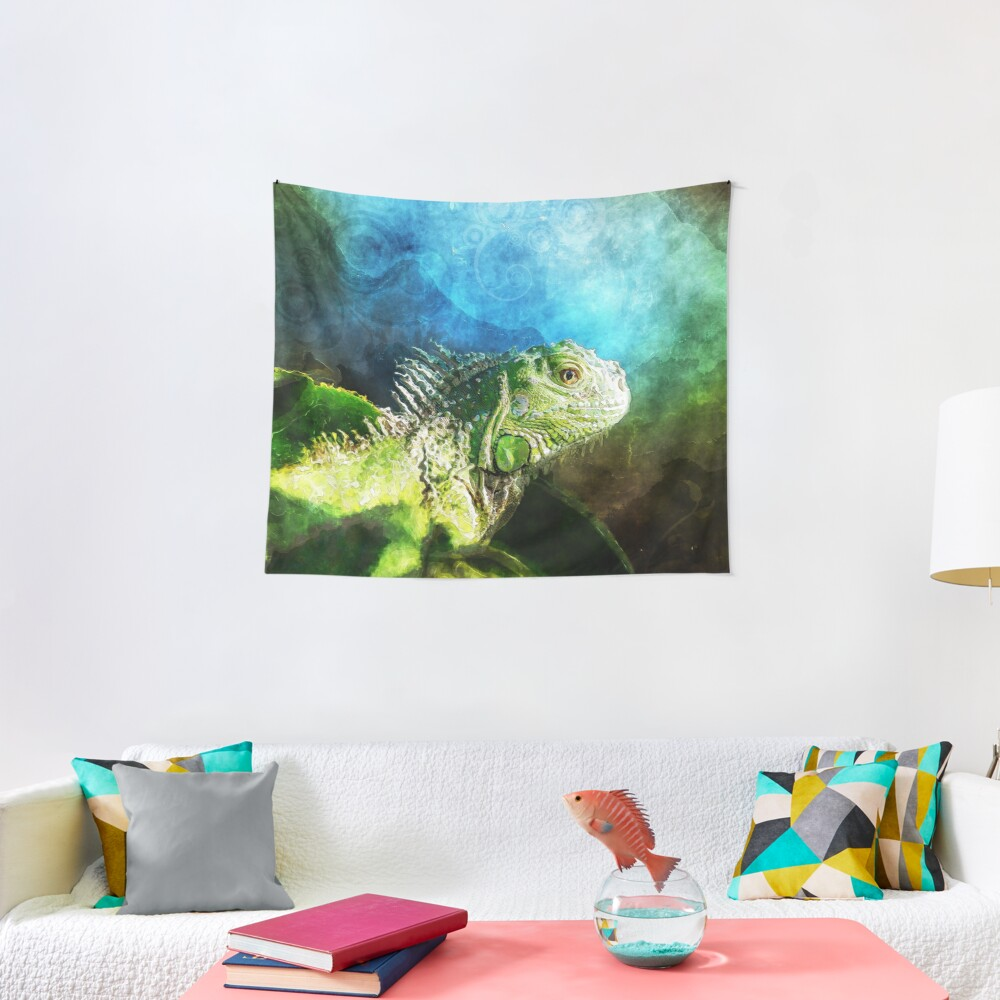 Blue And Green Iguana Profile Tapestry