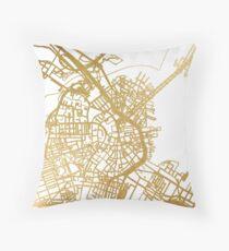 Gold Boston map Throw Pillow