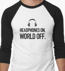 Headphones on, world off. Men's Baseball ¾ T-Shirt